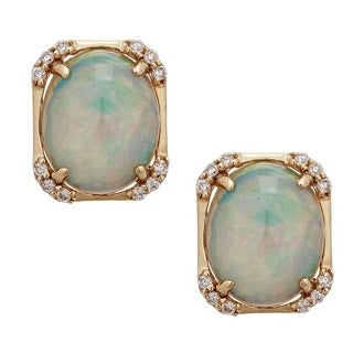 Anika and August 14k Yellow Gold 1/5ct TDW Diamond and Oval-cut Ethiopian Opal Earrings (G-H, I1-I2)