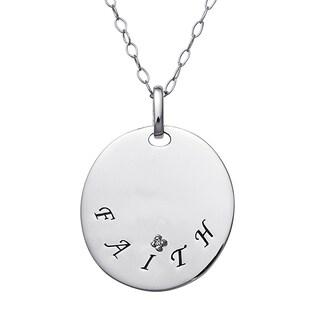 Sterling Silver Faith Diamond Accent Pendant