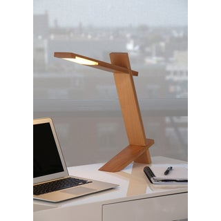 LumiSource Contemporary Plank Wood LED Desk Lamp