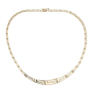 Decadence 14k Yellow Gold Graduated Greek Key Necklace