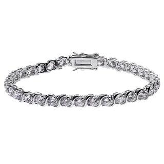 Rhodium-plated Cubic Zirconia S Curve Tennis Bracelet