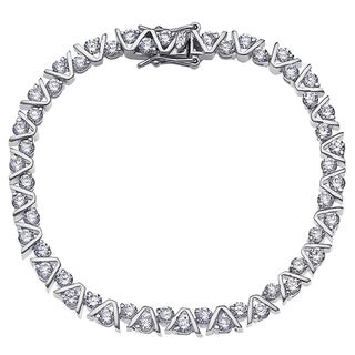 Silver Overlay 'V' Round Cubic Zirconia Tennis Bracelet