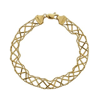 Decadence 14k Two-Tone Gold Diamond-Cut Beaded Woven Bracelet