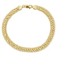 Decadence 14k Yellow Gold Diamond-Cut Beaded Fancy Bracelet