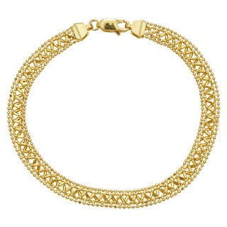 Decadence 14k Yellow Gold Diamond-Cut Beaded Fancy Bracelet