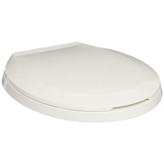 Zurn White Closed Front Round Toilet Seat with Cover and Self Sustaining Hinges