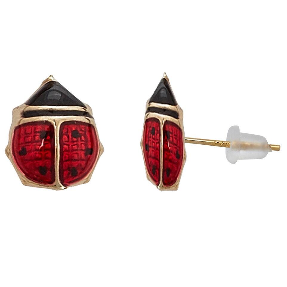 14K Solid Yellow Gold Red Enamel Small Ladybug Screw Back Stud Earrings 6mm