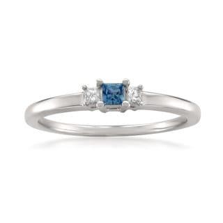 Montebello Jewelry 14k White Gold Blue Sapphire and White Diamond 3-Stone Engagement Ring