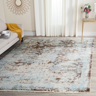Safavieh Vintage Persian Brown/ Light Blue Polyester Rug (5' x 7' 6)