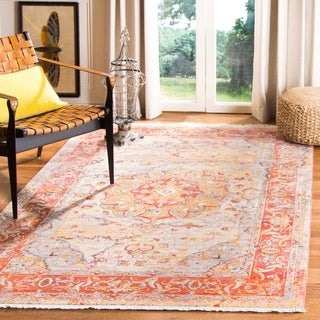 Safavieh Vintage Persian Oriental Saffron/ Cream Distressed Polyester Rug (6' x 9')