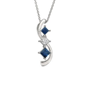 Montebello Jewelry 14k White Gold 3-stone Blue Sapphire and Diamond Swirl Necklace (H-I, I1-I2)