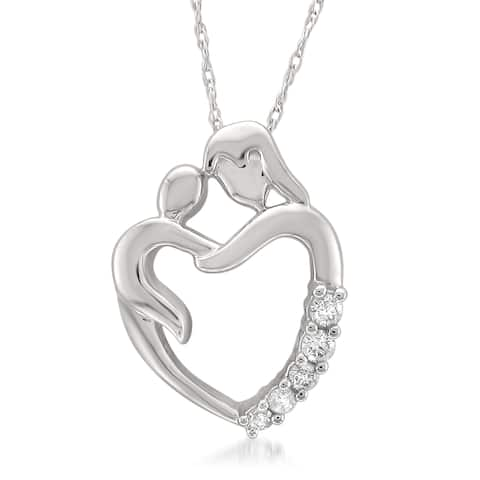 Montebello Jewelry 14k White Gold Mother and Child Diamond Pendant Necklace