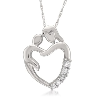 Montebello Jewelry 14k White Gold Mother and Child Diamond Pendant Necklace (H-I, I1)