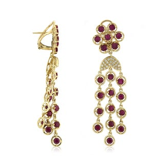 14k Rose Gold 1/3ct TDW Diamond and Ruby Earrings (I-J, SI1-SI2)