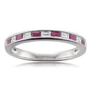 Montebello Jewelry 14k White Gold 1/2ct TGW Ruby and White Diamond Baguette-cut Wedding Band (I-J, VS1-VS2)
