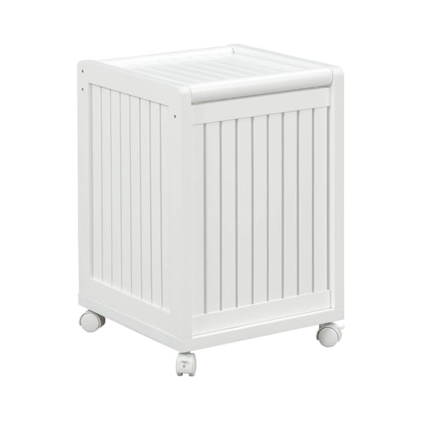 new ridge home abingdon white mobile hamper with lid free shipping today overstock 18655359. Black Bedroom Furniture Sets. Home Design Ideas