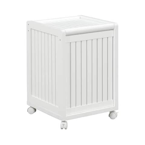 NewRidge Home Solid Wood Abingdon Mobile Hamper with Lid & Casters
