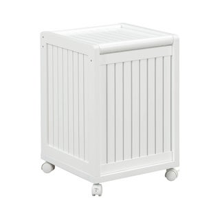 New Ridge Home Solid Wood Abingdon Mobile Hamper with Lid, White