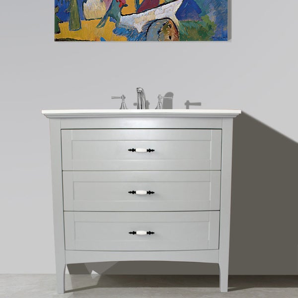 Shop Grey Finish Solid White Quartz Marble Top 36 Inch Single Sink Bathroom Vanity Free