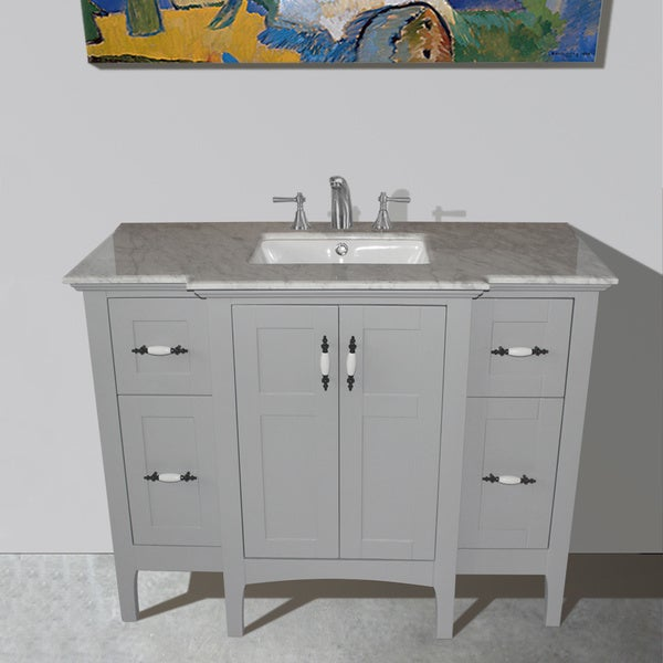 Grey Finish Carrara White Marble Top 45 Inch Single Sink Bathroom Vanity Free Shipping Today
