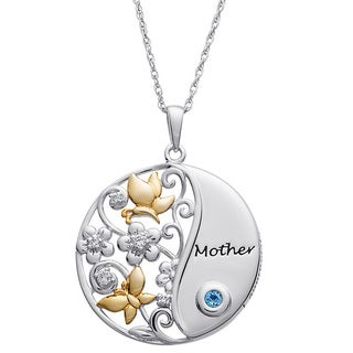 Sterling Silver A Mother's Love Birthstone Pendant