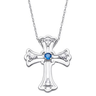 Sterling Silver Cubic Zirconia Birthstone Only Believe Cross Pendant