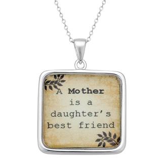 Sterling Silver Mother's Best Friend Sentiment Pendant
