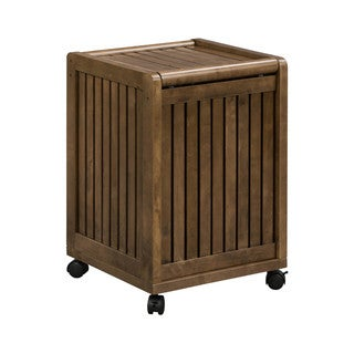 New Ridge Home Solid Wood Abingdon Mobile Hamper with Lid and Casters, Antique Chestnut