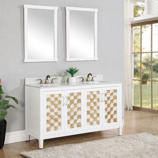 Contemporary Style Carrera White Natural Marble 60 inch Double Sink Bathroom Vanity with Mirrors