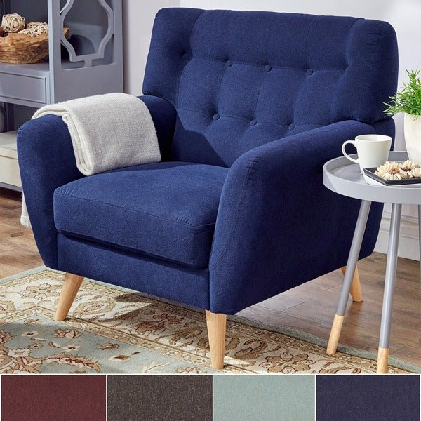 Aldi Curved Accent Chair: Niels Danish Modern Curved Tufted Upholstered Chair