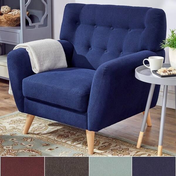Pleasing Shop Niels Danish Modern Curved Tufted Upholstered Chair Inzonedesignstudio Interior Chair Design Inzonedesignstudiocom