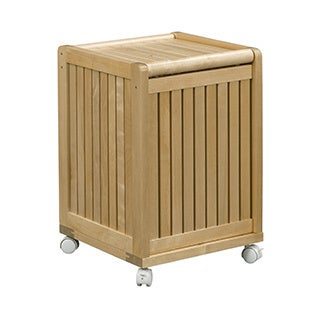 NewRidge Home Solid Wood Abingdon Mobile Hamper with Lid, Blonde