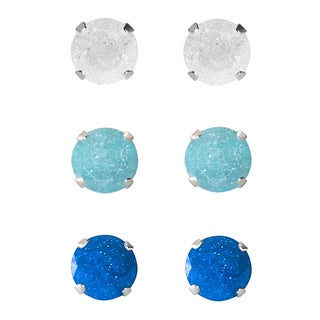 Set of 3-pair Sterling Silver 5.25-mm White, Turquoise, Blue Ice Cubic Zirconia Stud Earrings