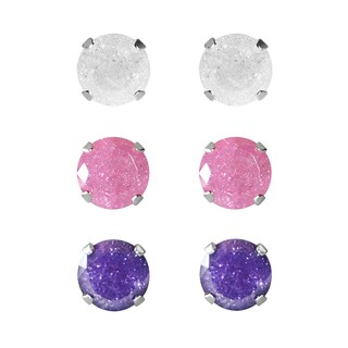 Set of 3-pair Sterling Silver 5.25-mm White, Pink, Purple/Blue Ice Cubic Zirconia Stud Earrings