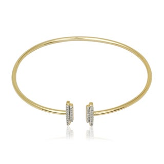 10k Yellow Gold 1/6ct TDW Diamond Designer T-bar Flexible Bangle Bracelet