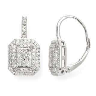 10k White Gold 1/2ct TDW Diamond Geometric Cluster Drop Earrings