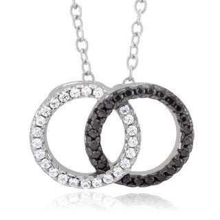 Sterling Silver Black and White Cubic Zirconia Dual Circle Pendant Necklace