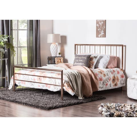 Furniture of America Jern Contemporary Gold Metal Slatted Panel Bed
