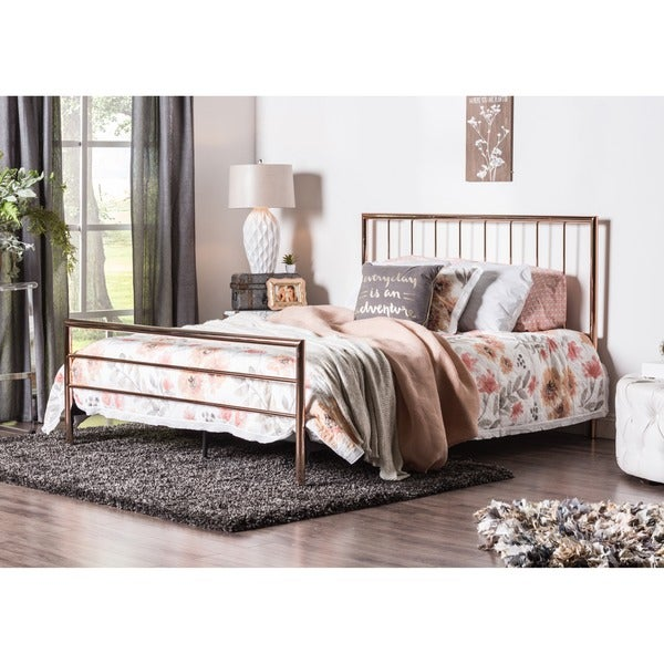 Furniture of America Hollander Contemporary Rose Gold Metal Bed