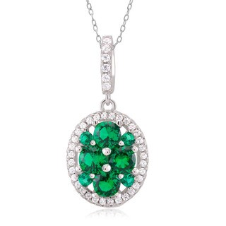 Sterling Silver Green Cubic Zirconia Oval Pendant Necklace