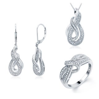 Divina Silver Overlay Diamond Accent 3-piece Jewelry Set