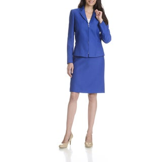 Tahari Arthur S. Levine Women's Royal Blue Textured 2-piece Skirt Suit