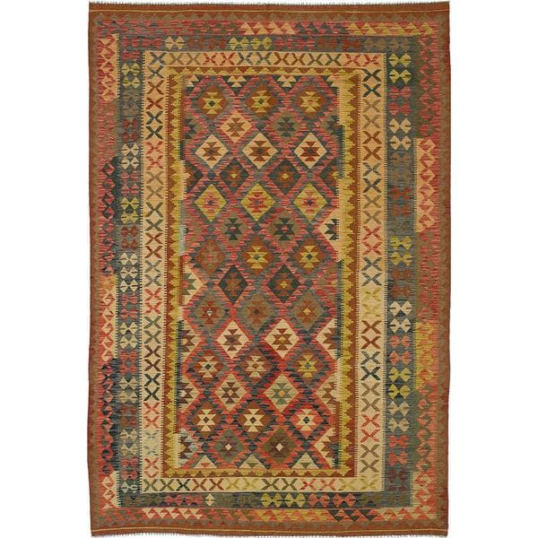 ecarpetgallery Handmade Anatolian Beige Wool Kilim Rug (6'5 x 9'9)