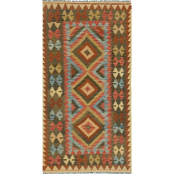 ecarpetgallery Handmade Anatolian Green Wool Kilim Rug - 3'3 x 6'6