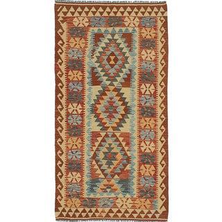 ecarpetgallery Handmade Anatolian Beige and Brown Wool Kilim Rug (3'4 x 6'7)