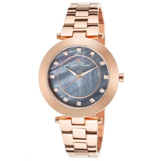 Lucien Piccard Odessa Rose-Tone Stainless Steel Black Mother of Pearl Dial Watch