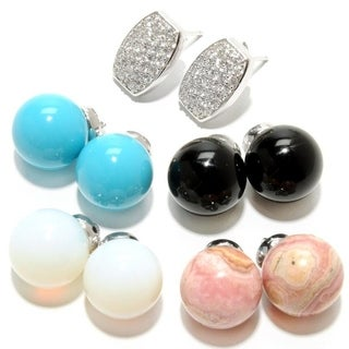 Sterling Silver Gemstone Interchangeable Dangling Earrings (Set of 4)