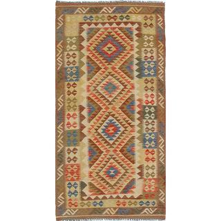 Flat-weave Anatolian FW Beige Wool Kilim - 3'3 x 6'8
