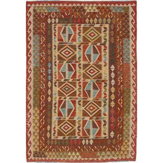 ecarpetgallery Handmade Sivas Beige Wool Kilim Rug (5'7 x 8'3)