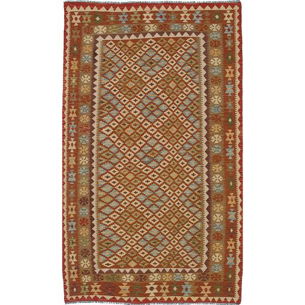 ecarpetgallery Handmade Izmir Beige and Brown Wool Kilim Rug (5'1 x 8'8)